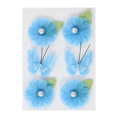 Vellum Flowers And Butterflies- Blue,6pcs