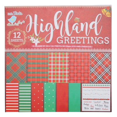 Highland Greetings- 12x12Inch Paper Pack, 12 sheet