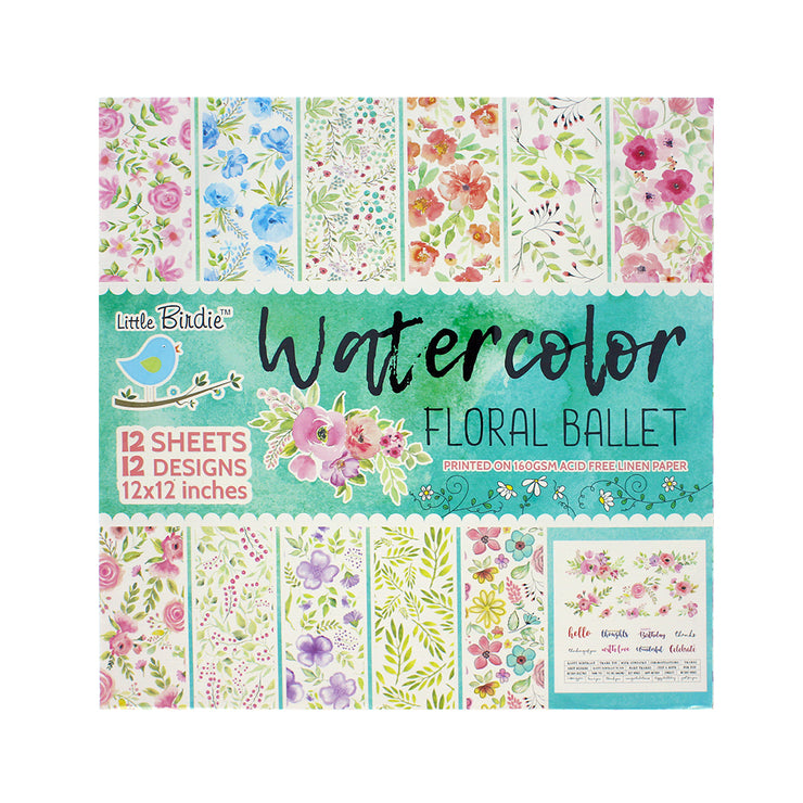 Water Color Floral Ballet Paper Pack 12X12 inch, 12sheets
