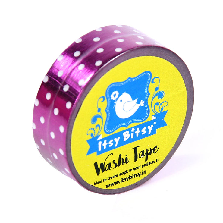 White Polka Dot On Pink Foil Washi Tape - 8mmx10mtr