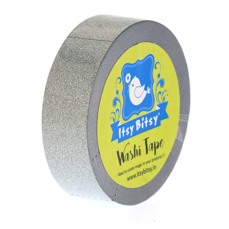 Washi Tape Grey Glitter- 15mmx10mtr