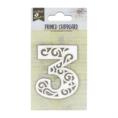 Primed Ornate Number Chipboard 3 - 1Pc