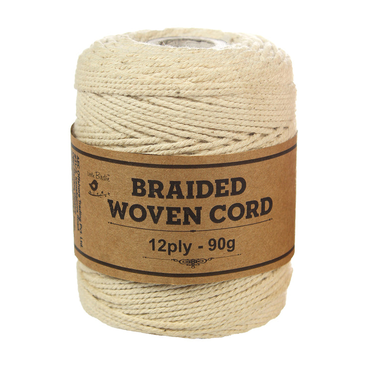 Braided Woven Cord 12ply -90gm, 1 Roll