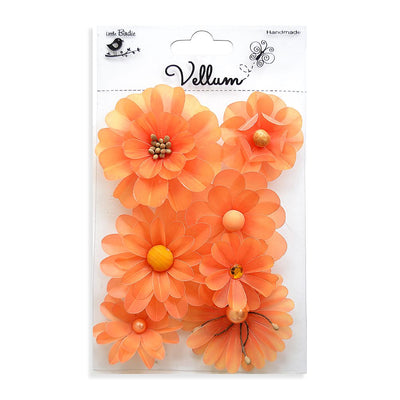 Handmade Flower Vellum Symphony Flowers - Orange, 7pcs