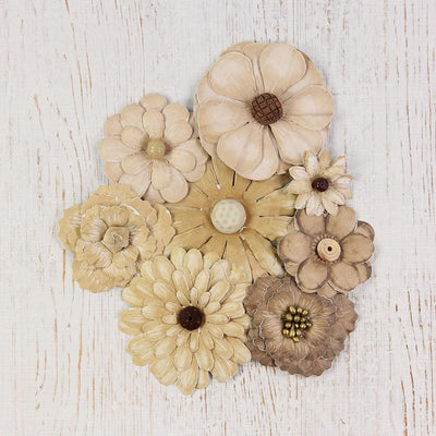 Handmade Flower Antique Fusion Flowers- Vintage, 8pcs