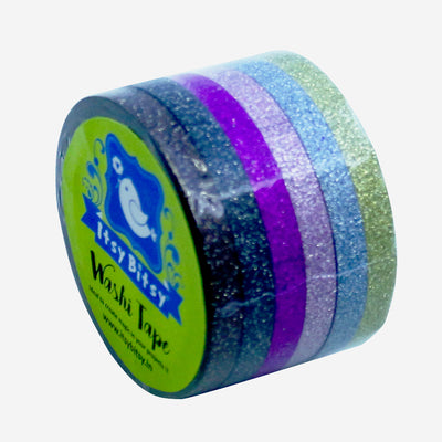 Washi Tape - Pastel Glitter Stripes, 5mm, 6pc