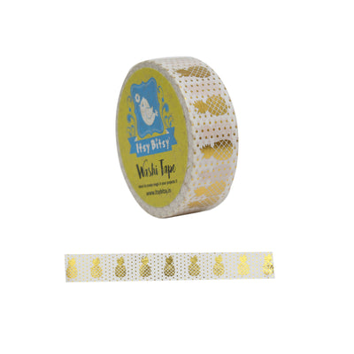 Washi Tape- Pineapple Shine White, 15mm x 10mtr