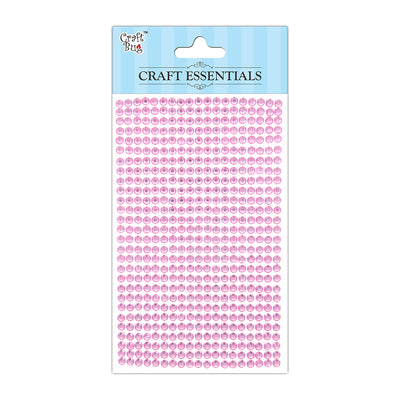 Self Adhesive Crystal Stones - Light Pink 4mm , 28Strips, 553pcs