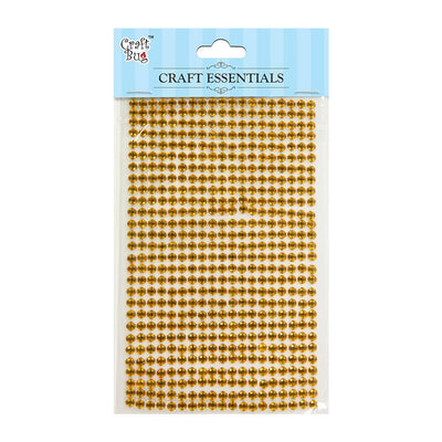 Self Adhesive Crystal Stones - Golden Yellow 4mm , 28Strips, 553pcs