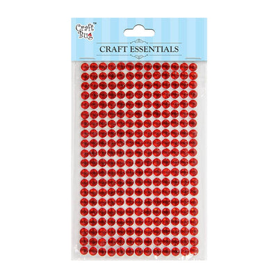 Self Adhesive Crystal Stones - Red 6mm, 20Strips, 260pcs