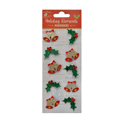 Christmas Embellishment - Glitter Bells and Berries, Red and Green, 10 pc