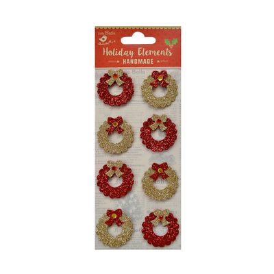 Christmas Embellishment - Glitter Wreath, Red and Gold, 8 pc