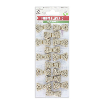 Burlap Bow Embellishment- Natural 15pcs