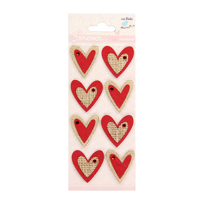 Burlap Embellishment Hearts 8pcs