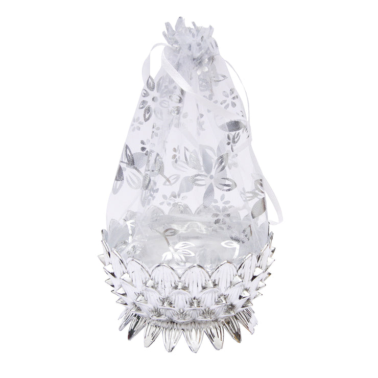 Organza Gift Bag- Lotus, Silver, 1Pc