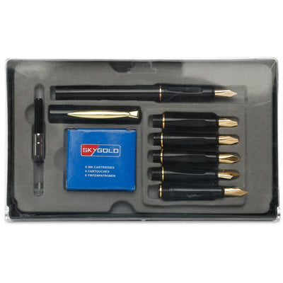 Sky Gold Calligraphy  Pen Set - 6 Nibs and 6 Ink Cartridges, W 18.5 x 13.5cm , 1 Set