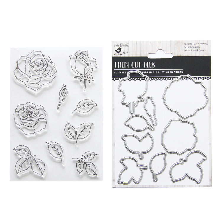 Coordinating Clear Stamp & Dies Set- Florence, 18pc, 1Set