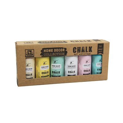 Home Decor Collection Matt Chalk Acrylic Paint Kit, Pastels, 60ml - 6pcs