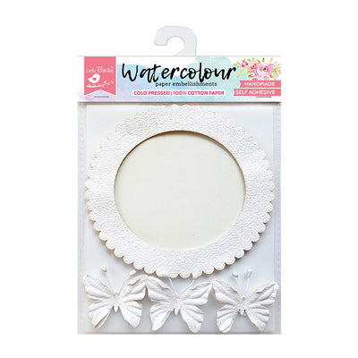 Watercolour Paper Round Frame with Butterflies, 4 Pcs