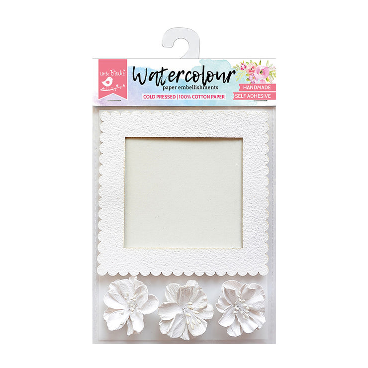 Watercolour Paper Square Frame with Flowers, 4 Pcs