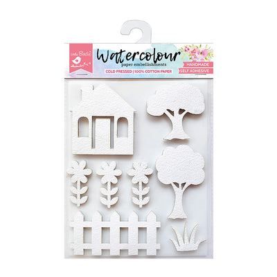 Watercolour Paper Embellishments - Countryside, 8 Pcs