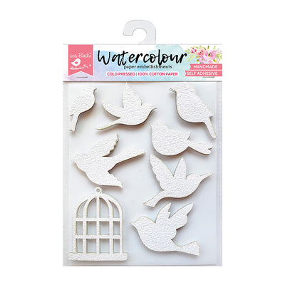 Watercolour Paper Embellishments - Bird and Bird cage, 8 Pcs