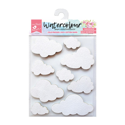 Watercolour Paper Embellishments - Clouds, 9 Pcs