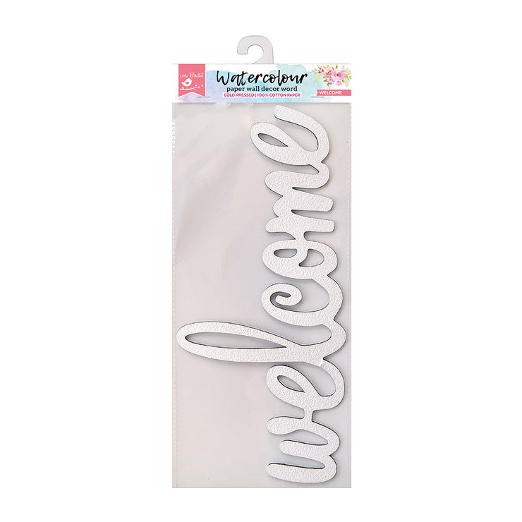 Watercolour Paper Wall Decor Word - Welcome, 1pc