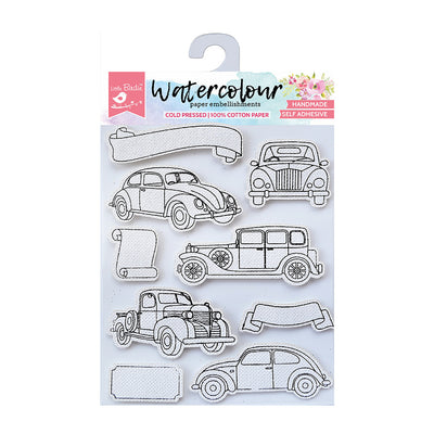 Watercolour Embellishments - Vintage Cars, Self-adhesive, 9 Pcs