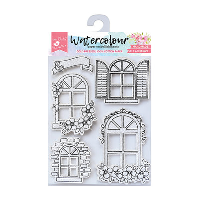 Watercolour Embellishments- Arch Windows, Self-adhesive, 5 Pcs