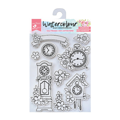 Watercolour Embellishments- Vintage Clocks, Self-adhesive, 9 Pcs