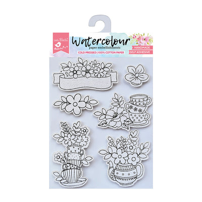 Watercolour Embellishments- Cuppa Blooms, Self-adhesive, 6 Pcs