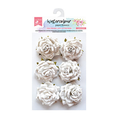 Watercolour Paper Flowers - Carly, 6 Pcs