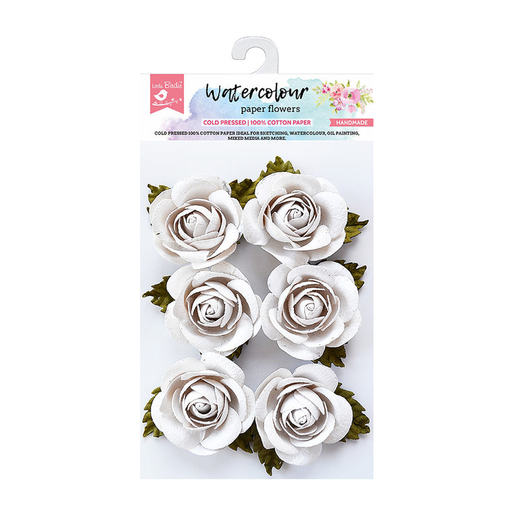 Watercolour Paper Flowers - Rose, 6 Pcs