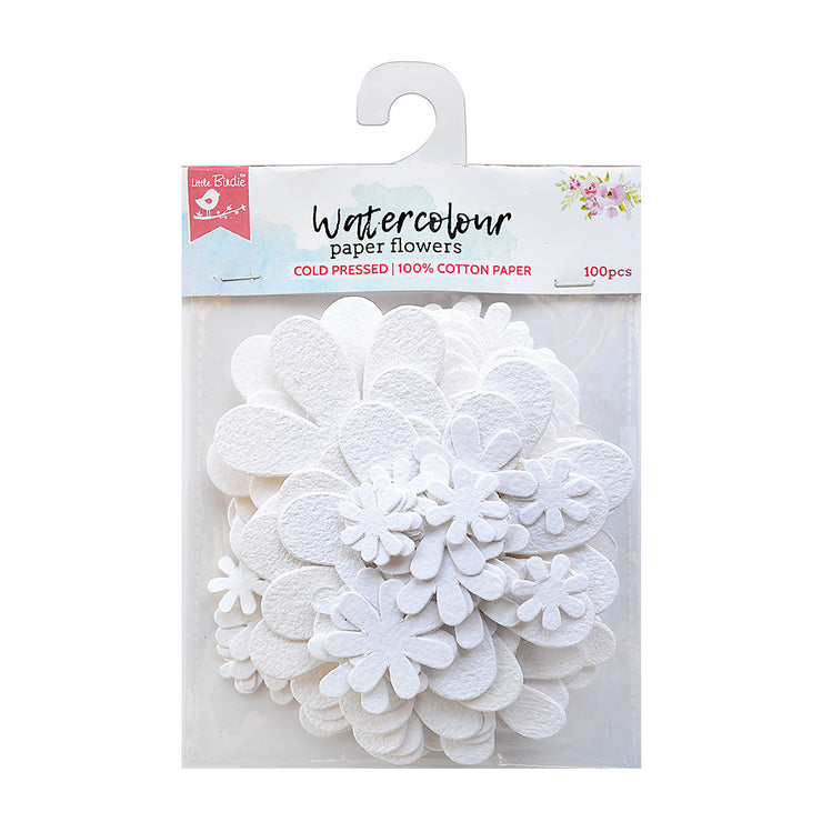 Watercolour paper Blooms - White, 100 Pcs