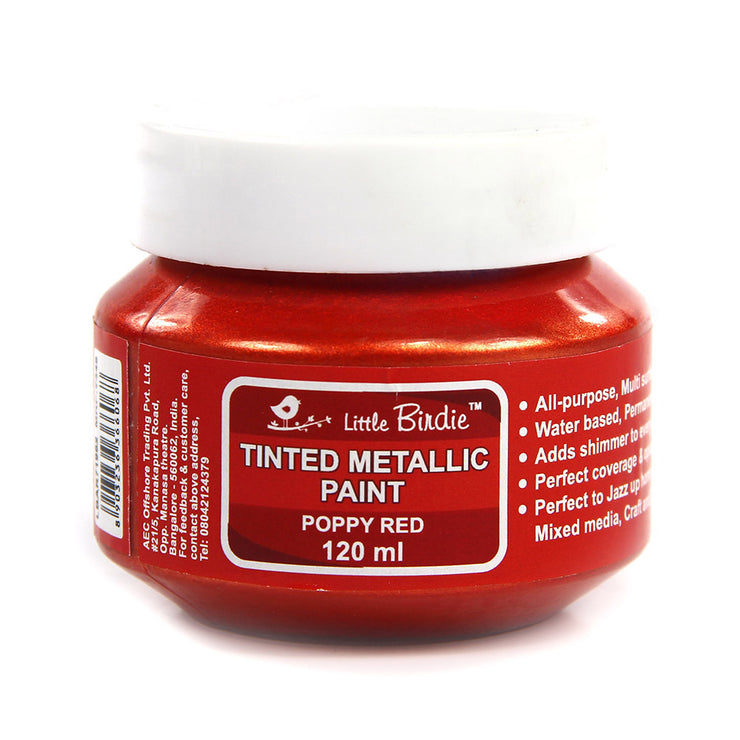 Tinted Metallic Paint 120ml -Poppy Red