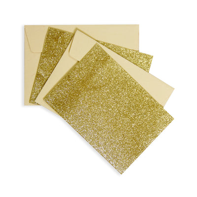 2 Glitter Cards and 2 Envelopes - Gold