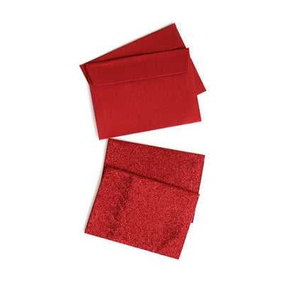 2 Glitter Cards and 2 Envelopes - Red