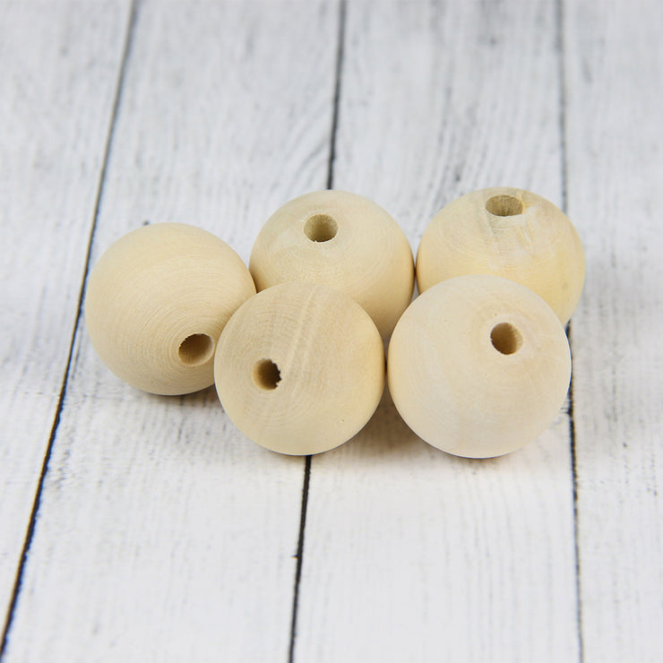 Natural Wooden Ball with Hole- 1inch, 5pcs