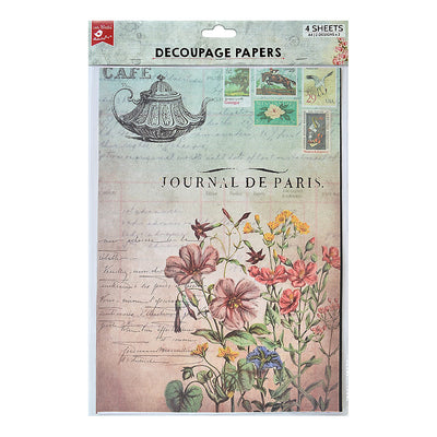 Decoupage Paper A4size, 4sheets - Cafe