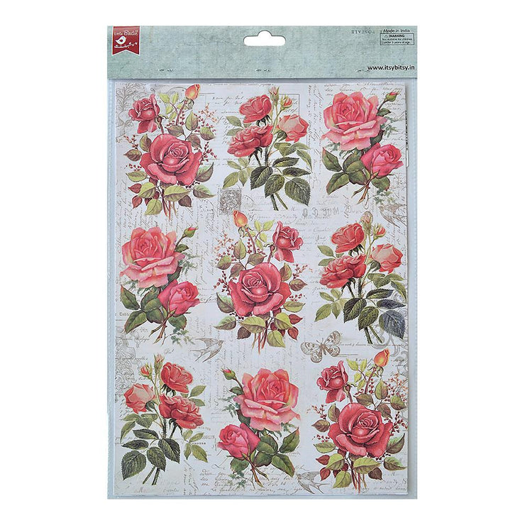 Decoupage Paper A4size, 4sheets - Rose