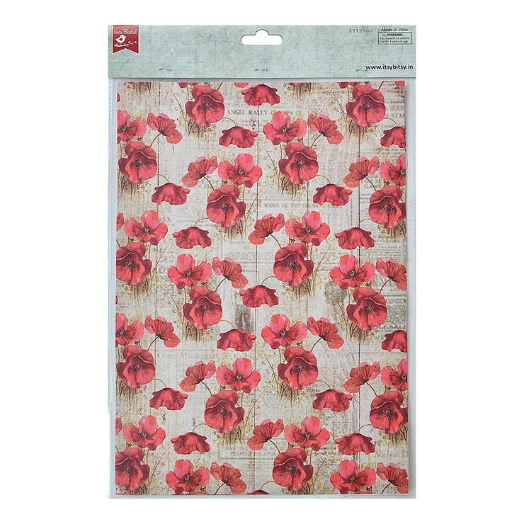 Decoupage Paper A4size, 4sheets - Poppy