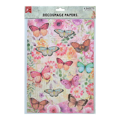 Decoupage Paper A4size, 4sheets - Butterfly