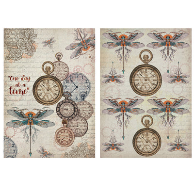 Decoupage Filament Paper A4 Size 2Sheets -Dragonfly Dance LB