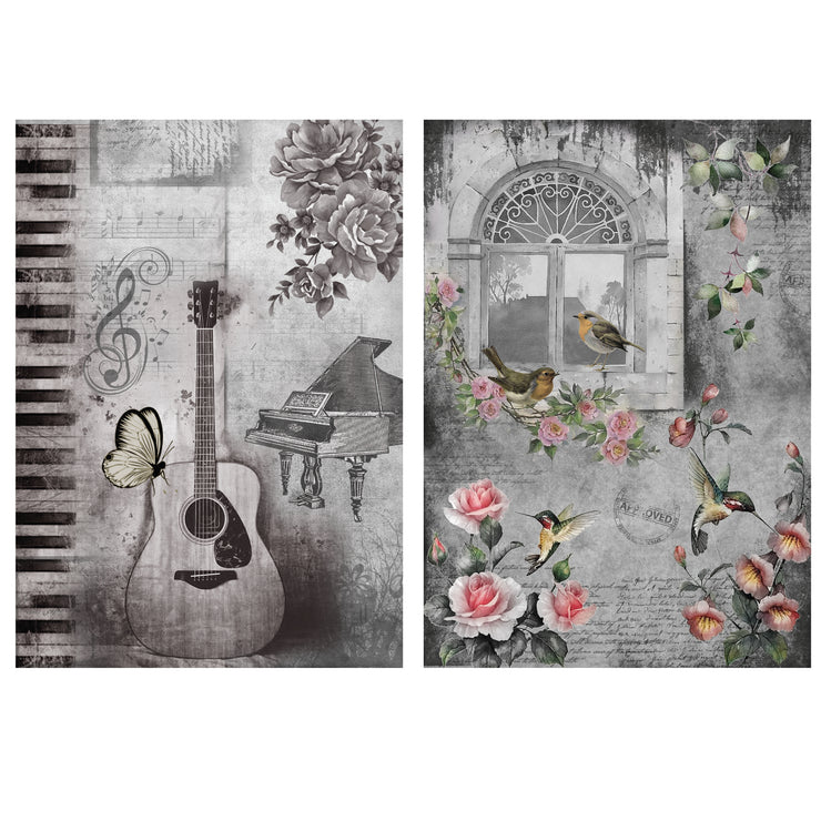 Decoupage Filament Paper A4 Size 2Sheets -Music Room LB