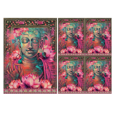 Decoupage Filament Paper A4 Size 2Sheets - Lotus Buddha