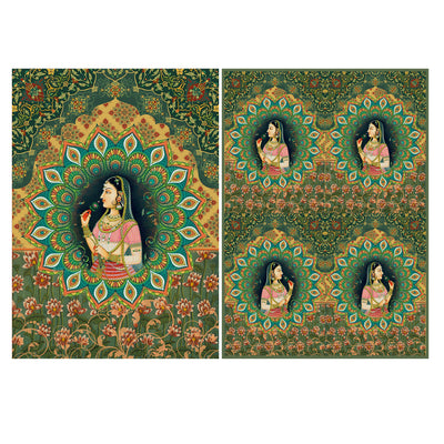 Decoupage Filament Paper A4 Size 2Sheets - Rajasthani Princess