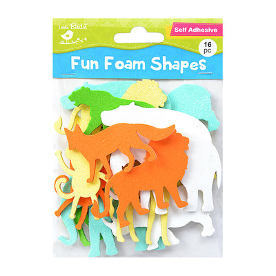 Fun Foam Shapes - Wild Animals, 16 Pcs
