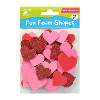 Fun Foam Shapes - Hearts, 48 Pcs