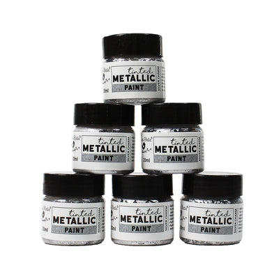 Share Pack Tinted Metallic Paint - Silver Charm, 20ml, 6pc